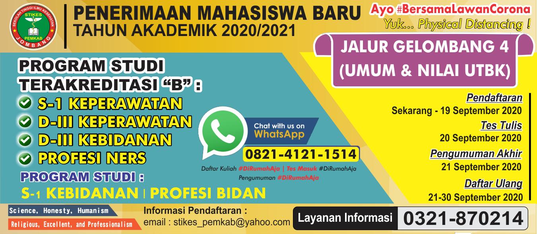 Pendaftaran Mahasiswa Baru Tahun Akademik 2020/2021